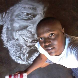 A tribute to Joe Mafela in salt drawing