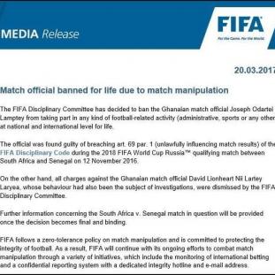 FIFA Statement, Joseph Lamptey Ban
