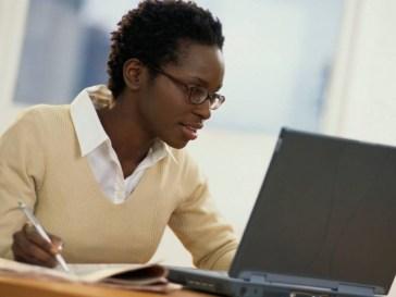 black girl using internet