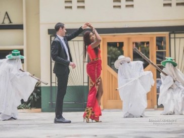black woman and white man pre-wedding