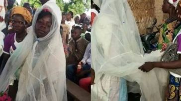 The Most Creative Bride Wears Potato Sack And Mosquito Net As Wedding Dress [Photo]