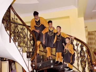 Nigerian Billionaire E-Money And His Sons Rock Matching Outfit To Celebrate 1m Instagram Followers [Photos]