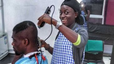 Meet The Female Professional Barber Trending In Nigeria [Photos]