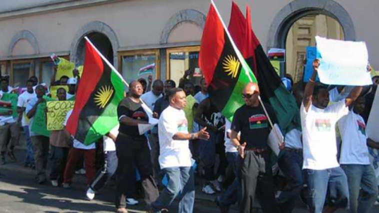 VIDEO: IPOB Members Storm UN Office In New York To Protest Against Nigerian Government
