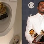 Kanye West Pees On One Of His Grammy Awards In A Bizarre Video Amid Record Label Feud 1