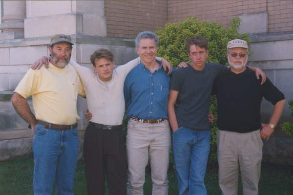 Homer on the set of October Sky. From left to right: Roy Lee Cook, Will Lee Scott, Homer Hickam, Chad Lindberg,  O'Dell Carroll.