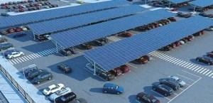 zonnepanelen boven parkeerterrein
