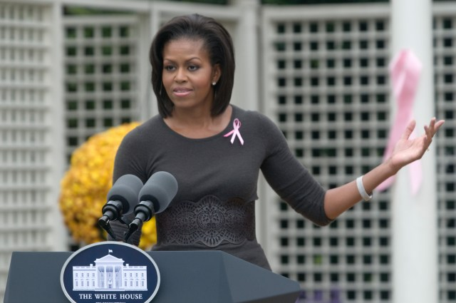 U.S. First Lady Michelle Obama delivers remarks during a...