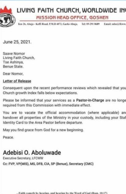Letter To Winners Chapel Pastors