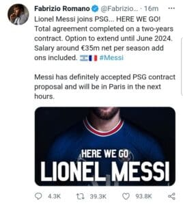 Lionel Messi Officially Joins PSG