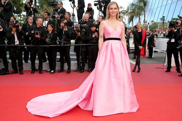 "Wearing custom Alberta Ferretti atthe screening of ""Sink Or Swim (Le Grand Bain)"" on May 13."