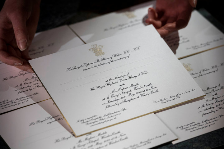 Invitations for Prince Harry and Meghan Markle's wedding in Windsor Castle in May, seen after they have been printed at