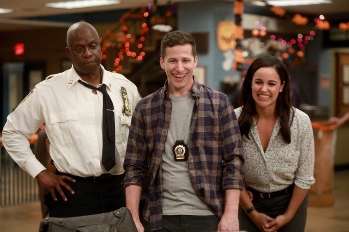 "Andre Braugher, Andy Samberg and Melissa Fumero in ""Brooklyn Nine-Nine."""