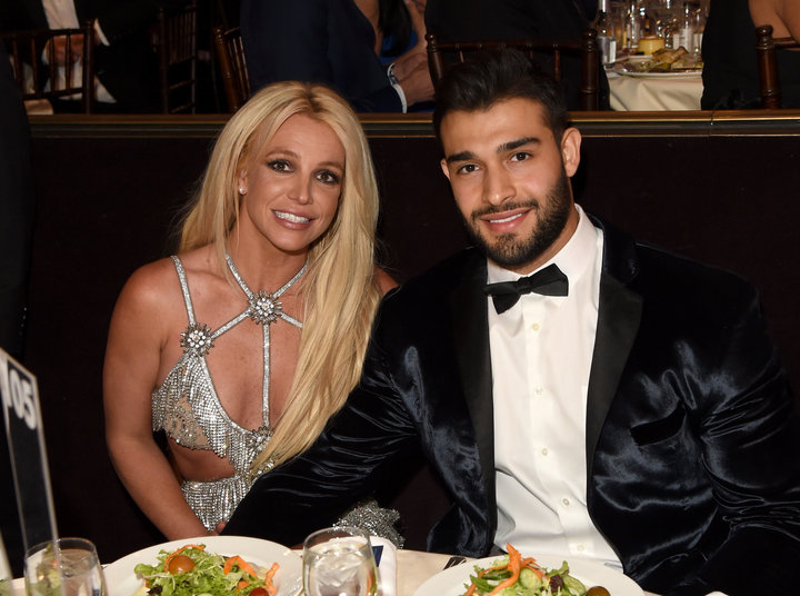 Britney Spears and Sam Asghari attend the 29th Annual GLAAD Media Awards in April 2018.
