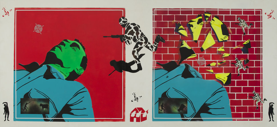 "David Wojnarowicz, ""Untitled (Green Head),"" 1982. Acrylic on Masonite 48 × 96 in. (121.9 × 243.8 cm). Collection"
