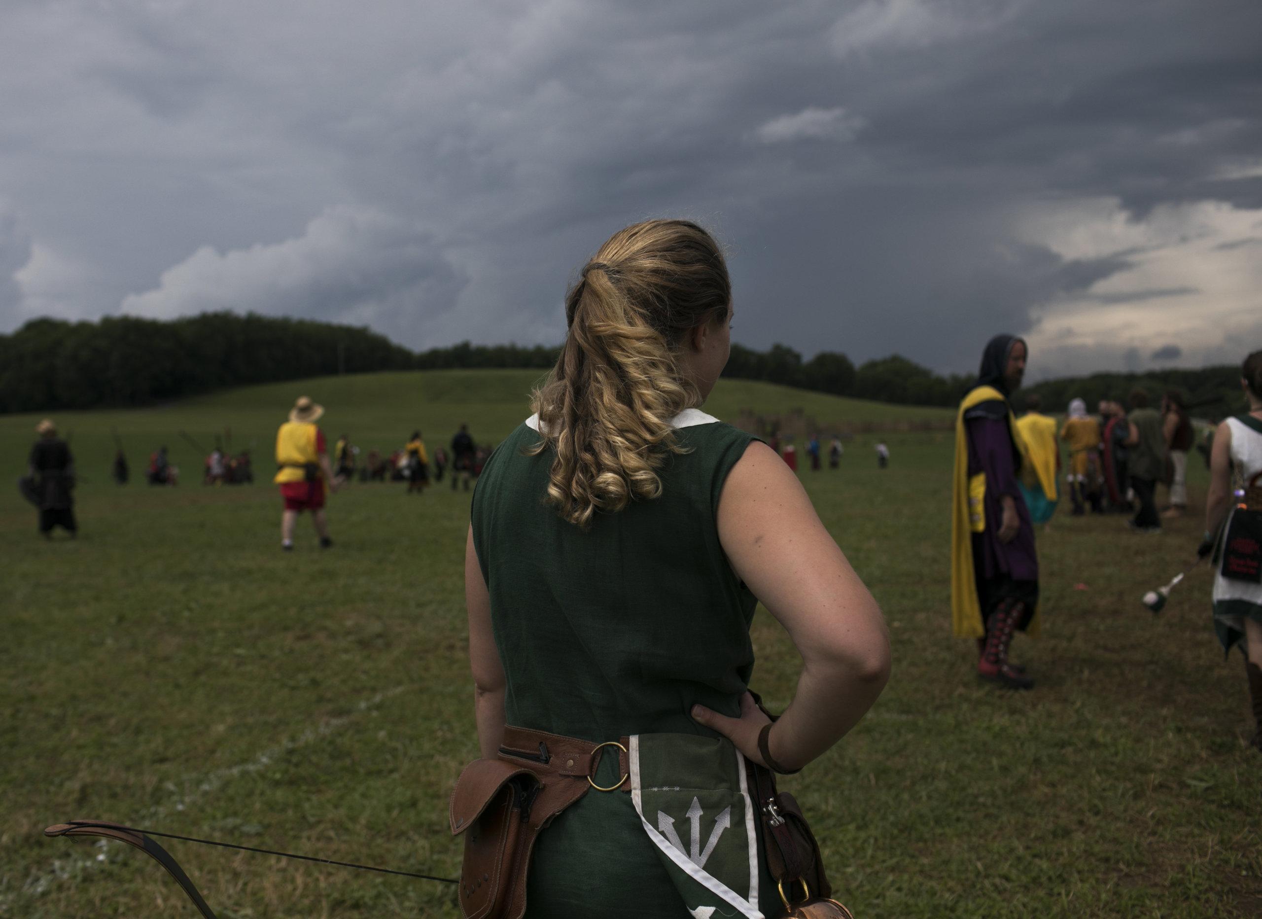 Gretchen Arnold stands on the battlefield at Ragnarok.