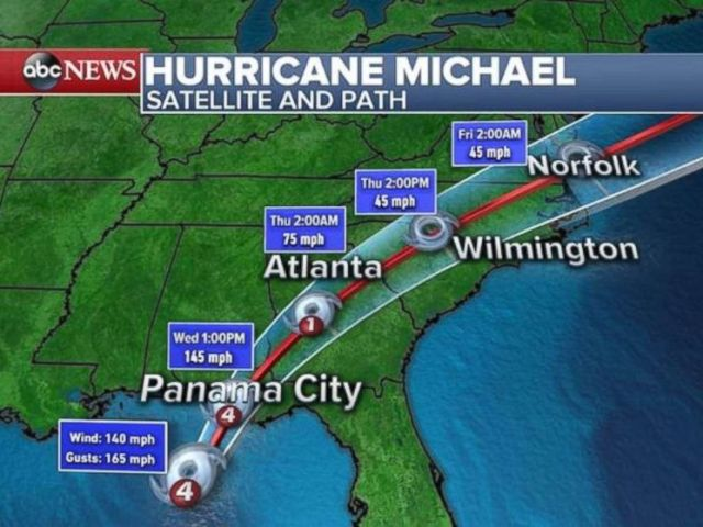 PHOTO: Hurricane Michael is a fast-moving storm, but it will keep hurricane-force winds all the way into Georgia overnight into Thursday morning.