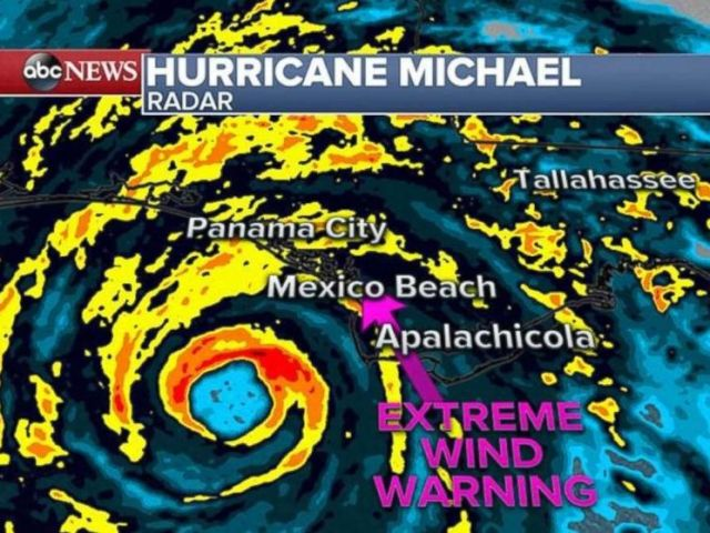 PHOTO: Wind gusts in excess of 130 MPH are expected as Hurricane Michael makes landfall, Oct. 10, 2018.