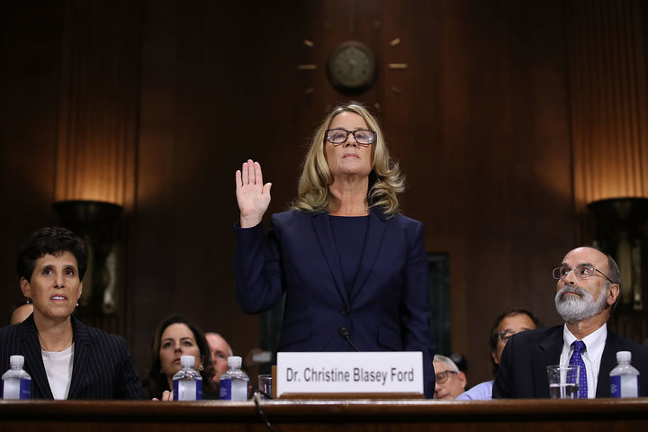 Christine Blasey Ford is sworn in before testifying the Senate Judiciary Committee on Sept. 27, 2018.