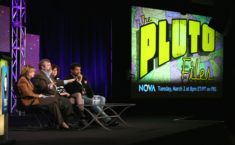 "Though not from the event in San Francisco, this shows Neil deGrasse Tyson, right, speaking about ""The Pluto Files"" during th"