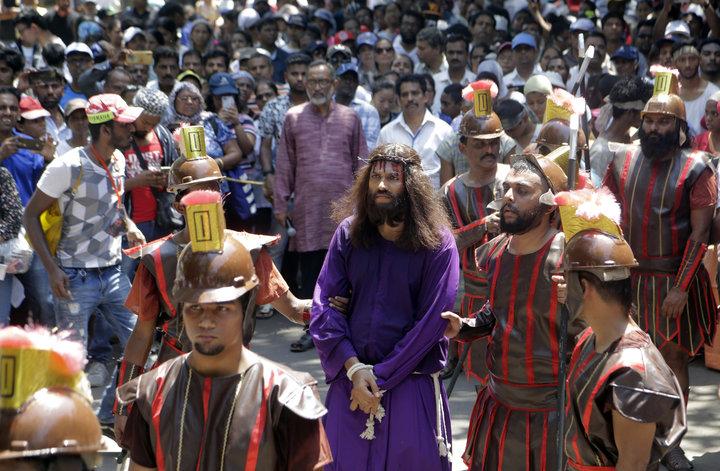 A man portrays Jesus in Mumbai, India, on April 19, 2019.