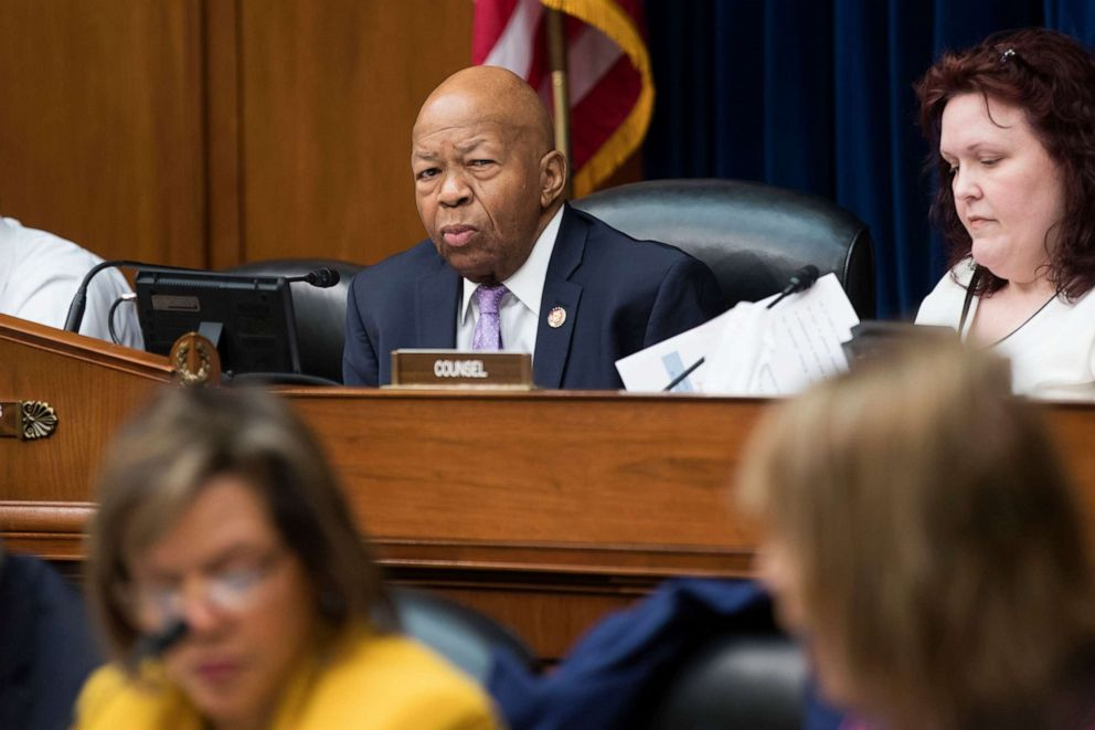 House Oversight and Reform Committee Chairman Elijah Cummings (C) oversees the committee's markup on a resolution 'Authorizing Issuance of Subpoena Related to Security Clearances, on Capitol Hill, April 2, 2019.