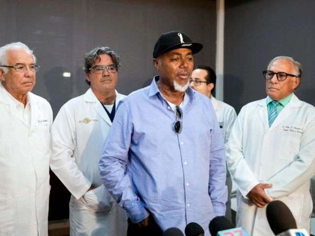 PHOTO: Accompanied by the medical team, the father of former Red Sox player David Ortiz, Leo Ortiz, speaks to the press, June 10, 2019, during a press conference at the clinic where David was admitted after being shot in Santo Domingo, Dominican Republic.