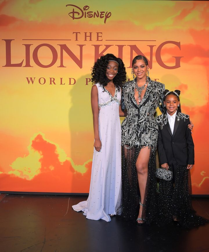 Shahadi Wright Joseph, who voices young Nala, and Beyonce Knowles-Carter, and Blue Ivy Carter.
