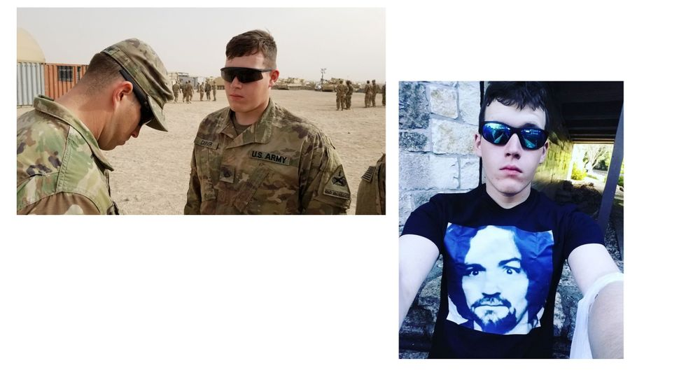 At left, a photo ofCorwyn Storm Carver posted to the Facebook account of the 1st Armored Division. On the right, a self