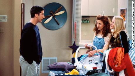 David Schwimmer as Ross Geller, Jessica Hecht as Susan Bunch-Willick and Jane Sibbett as Carol Willick-Bunch  (Photo by Paul Drinkwater/NBC/NBCU Photo Bank via Getty Images)