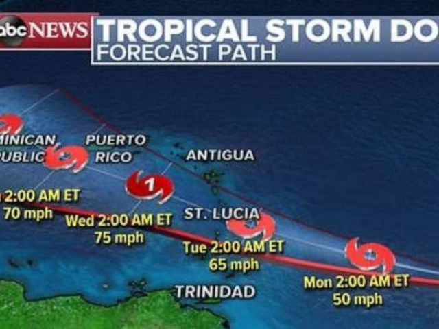 PHOTO: Tropical Storm Dorian will continue heading west toward Lesser Antilles over the next couple of days.