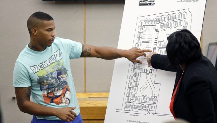 Victim Botham Jean's neighbor Joshua Brown, left, answers questions from Assistant District Attorney LaQuita Long, right, while pointing to a map of the South Side Flats where he lives, while testifying during the murder trial of former Dallas Police Officer Amber Guyger, in Dallas. Authorities say that Brown was killed in a shooting Friday, Oct. 4. (Tom Fox/The Dallas Morning News via AP, Pool) thegrio.com