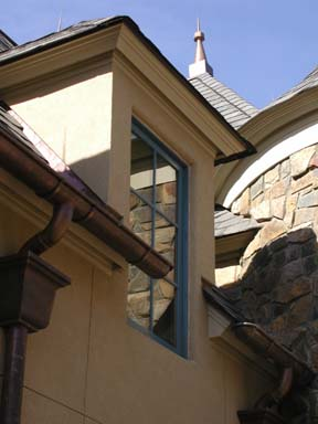 Copper gutters and finials