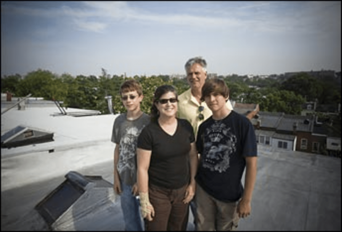 Solar supporters (from left) Walter Lynn, Anya Schoolman, Chris Graves, and Diego