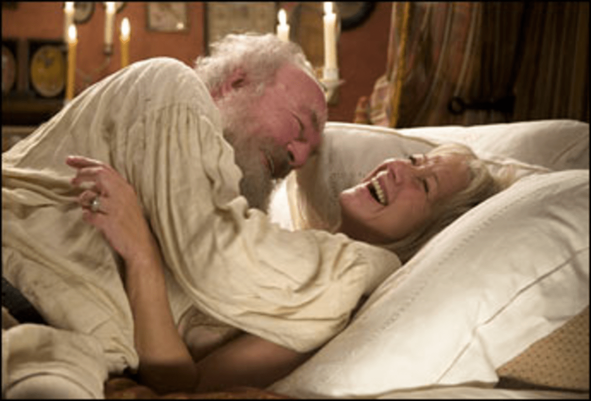 Sexual Pension: In their dotage, Plummer and Mirren enjoy a limited sex life.