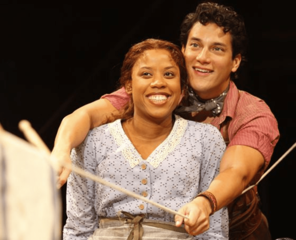 Eleasha Gamble as Laurey, Nicholas Rodriguez as Curly from Arena Stage's production of Rodgers & Hammerstein's Oklahoma!