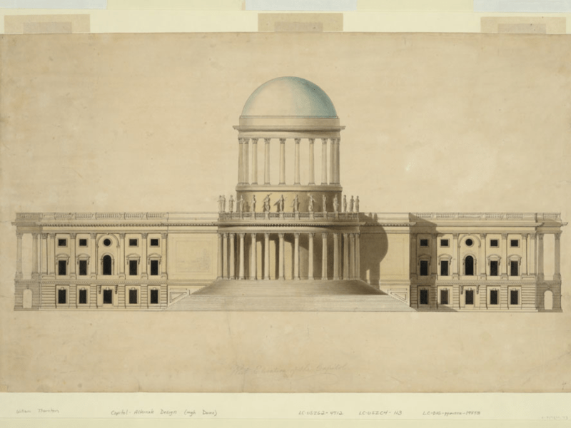 Proposed design for the US Capitol with high dome by William Thornton, c. 1797. Credit: Library of Congress, Prints and Photographs Division, LC-DIG-ppmsca-19858