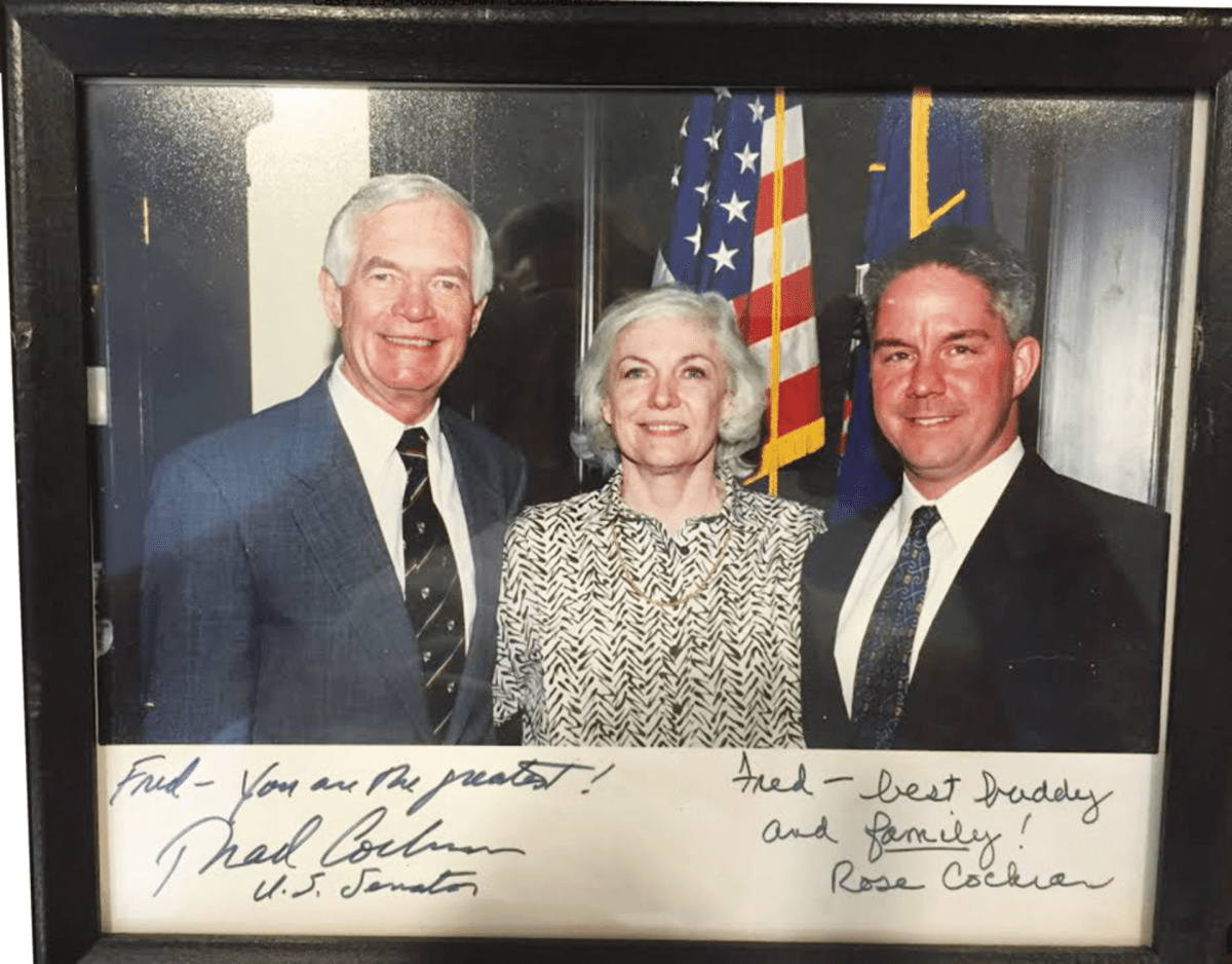 Pagan (far right) poses with Thad and Rose Cochran.