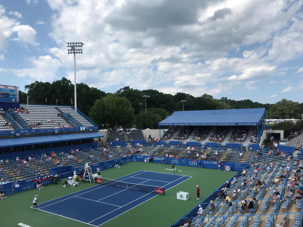 Match play on stadium court at the 2018 Citi Open