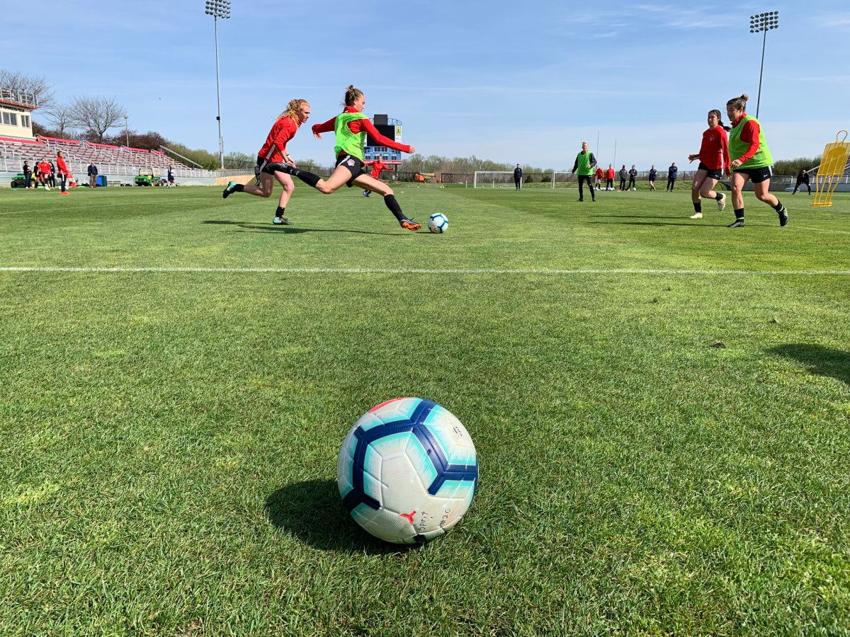 Washington Spirit and its academy players during a preseason practice