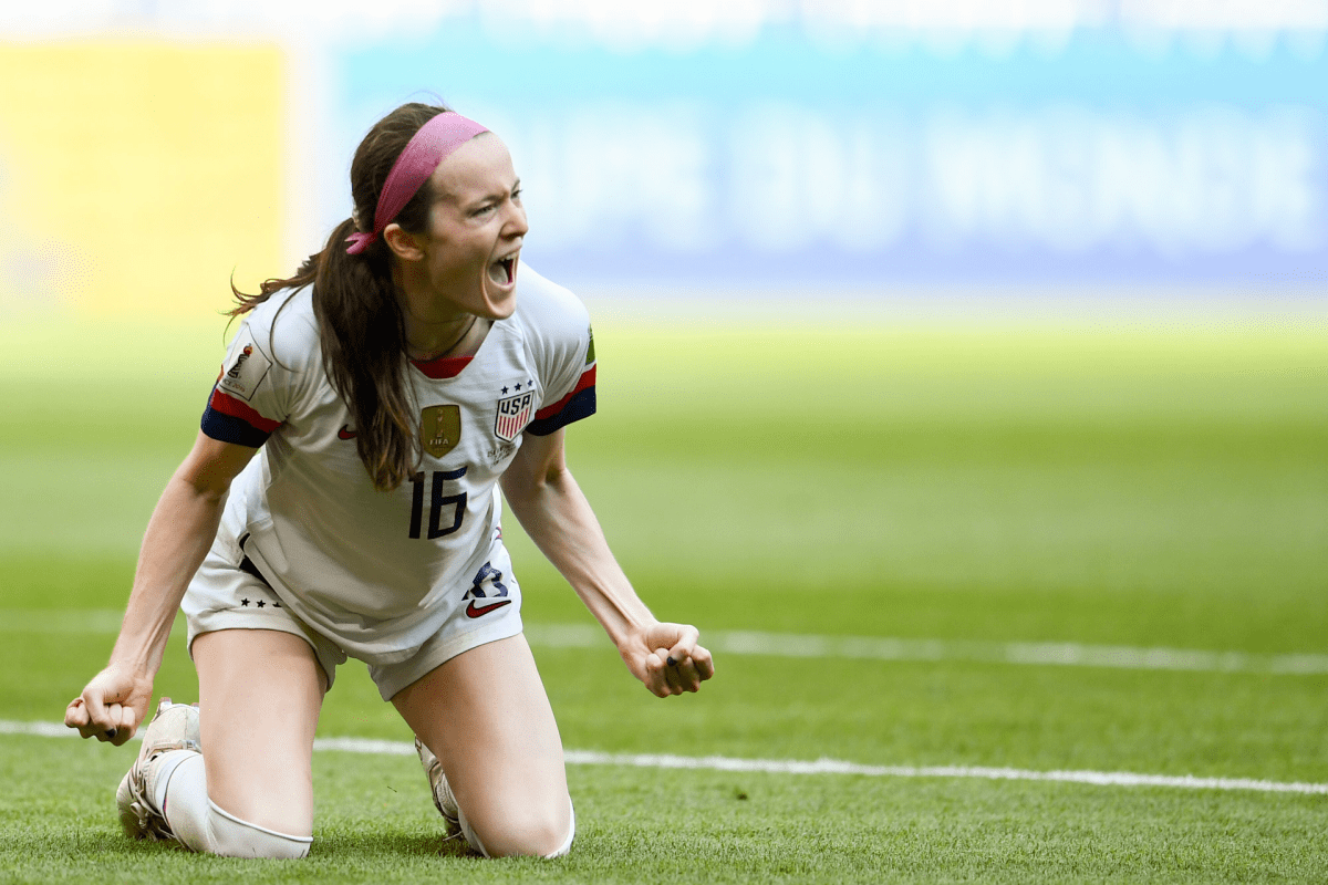 Rose Lavelle celebrates scoring a goal in the World Cup final