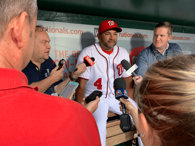 Dave Martinez chats with reporters on Sept. 13