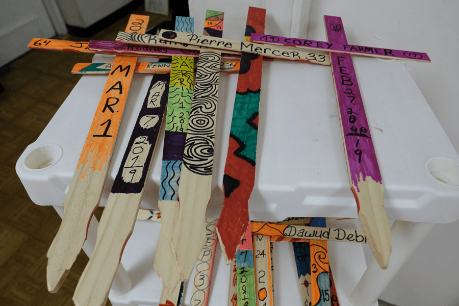 Crosses for people who died by gun violence in D.C. in 2019, painted in the basement of Faith United Church of Christ in October.