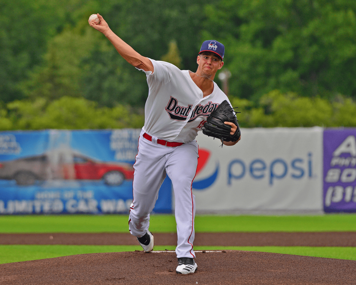 Jackson Rutledge pitching for the Auburn Doubledays in July 2019