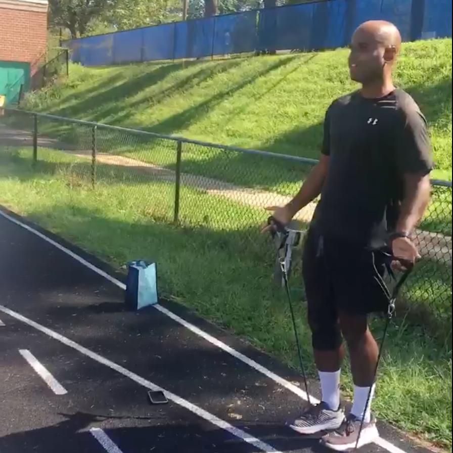 Adrien McDonald working out at Churchill High School