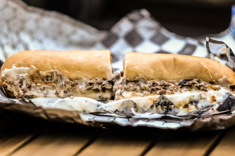 Oozing Philly cheesesteak from Ghostburger