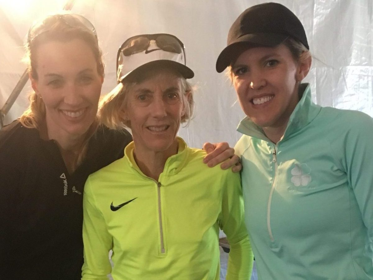 Keira D'Amato with Olympians Carrie Tollefson and Joan Benoit Samuelson at the 2017 Cherry Blossom Ten Mile Run.