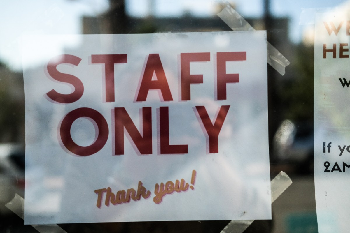 Staff only sign at a restaurant