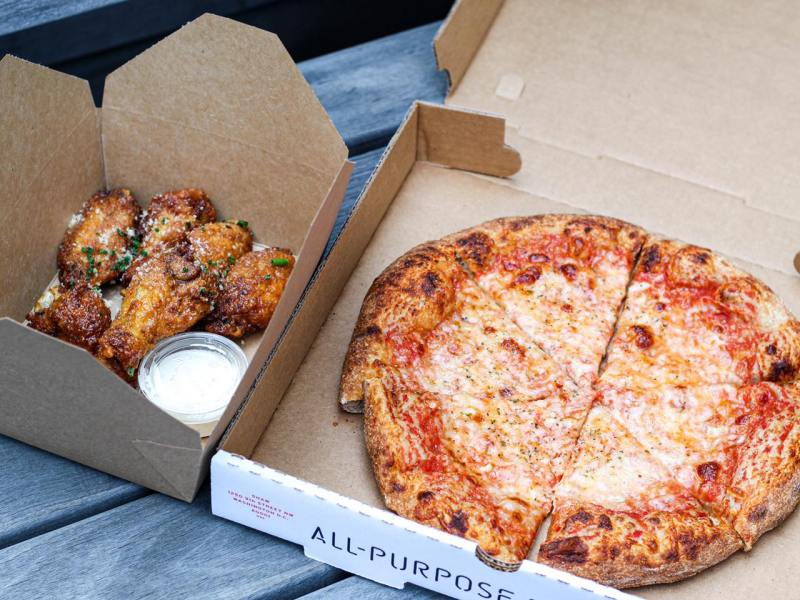 All-Purpose cheese pizza and wings