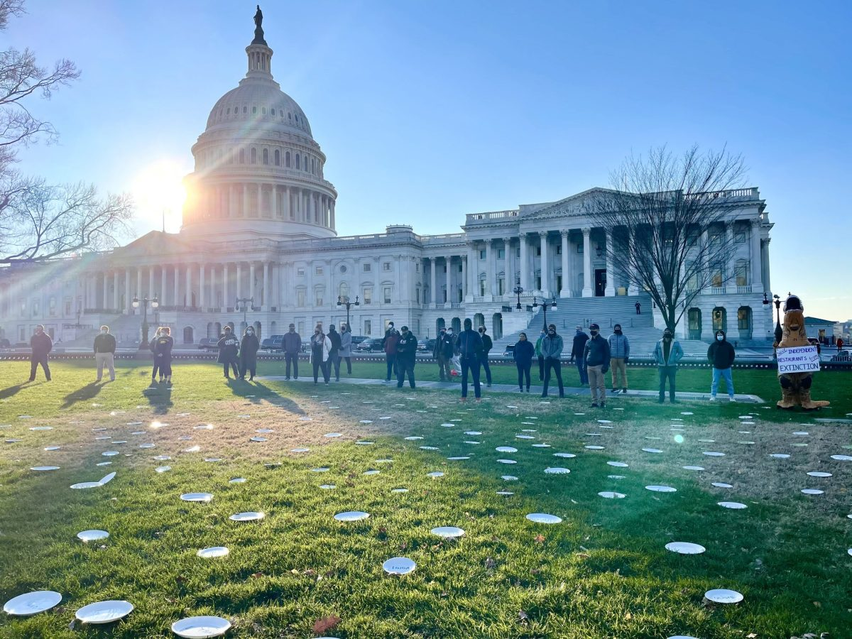 Restaurant bar and restaurant workers demonstrate on Capitol Hill